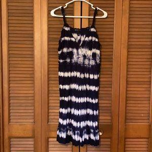 Inc 1X dark blue and white tie die dress